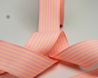 Striped Grosgrain Ribbon -- 1.5 inches -- Baby Pink Cream