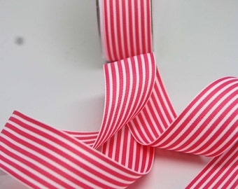 Striped Grosgrain Ribbon -- 1.5 inches -- Pink White