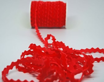 Velvet Ric Rac Ribbon -- 3 / 8 Inch -- Holiday Red Bright Red