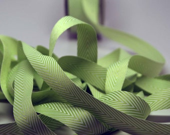 Striped Chevron Twill Ribbon -- 3/4 inch -- Limeade White