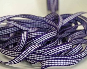 Grosgrain Solid Check Ribbon -- 3/8 inch -- Very Violet White