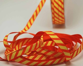 SALE Juicy Citrus Stripe Ribbon -- 3 / 8 Inch -- Orange Yellow Bright Stripe