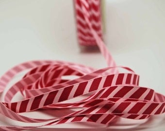 SALE Sweet Strawberry Stripe Ribbon -- 3 / 8 Inch -- Dark and Light Pink Stripe