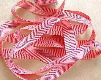 Striped Chevron Twill Ribbon -- 3/4 inch -- Red White
