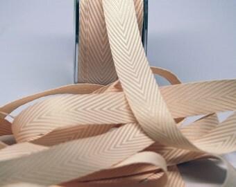 Striped Twill Ribbon -- 3/4 inch -- Champagne Cream White
