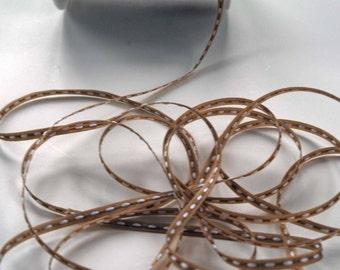 Solid Stitched Center Ribbon -- 1/8 inch -- Cafe Au Lait
