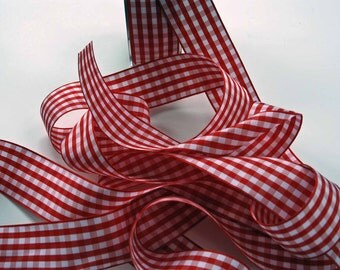 Gingham Ribbon -- 1.5 inches -- Red with White