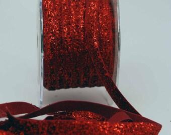 Velvet Metallic Trim -- 3/8 inch -- Ruby Red Slippers -- Red Glitter Nylon Ribbon