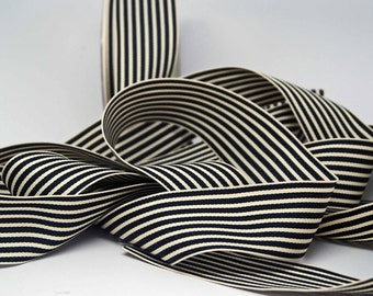 Striped Grosgrain Ribbon -- 1.5 inches -- Black Cream