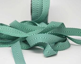 Striped Twill Ribbon -- 3/4 inch -- Emerald Green White