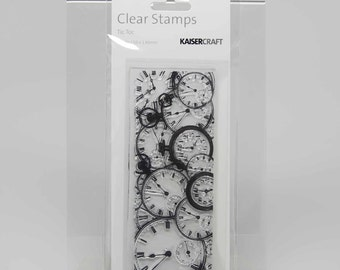 KaiserCraft Background Clear Stamps -- Acrylic -- Tic Toc Distressed Shabby Chic
