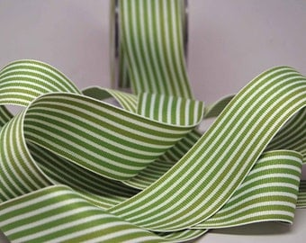 Striped Grosgrain Ribbon -- 1.5 inches -- Green White