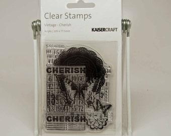 SALE KaiserCraft Clear Stamps -- Acrylic -- Vintage Cherish Bingo Butterfly Doily