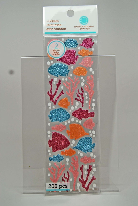 SALE Martha Stewart Glitter Tropical Fish and Coral Stickers -- Pink Blue