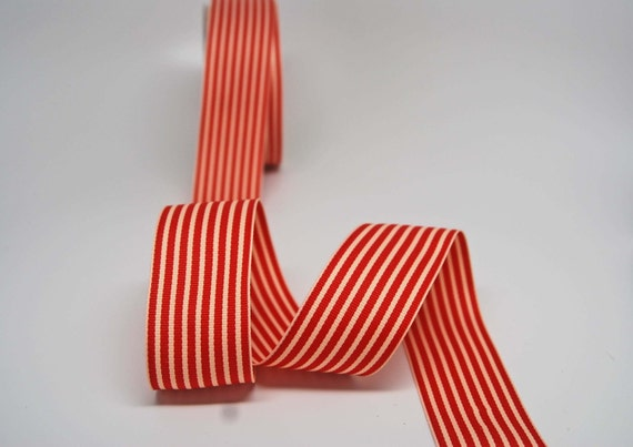 Striped Grosgrain Ribbon -- 1.5 inches -- Red Cream
