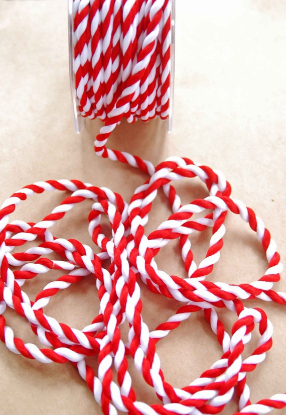 Candy Stripe Twisted Rope -- Red White -- 1/4 inch -- Peppermint Red White