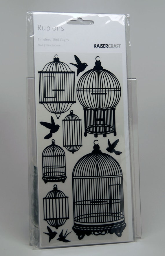 KaiserCraft Black Rub Ons -- Timeless Bird Cages -- Vintage Bird Cages Birds in Flight