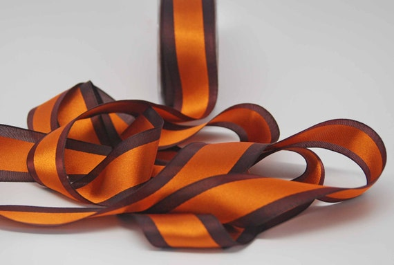 SALE Solid Satin Center Band Ribbon -- 1.5 inches -- Fall Harvest Orange Brown