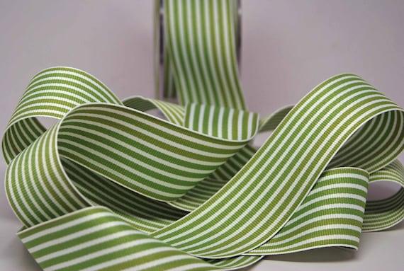 Striped Grosgrain Ribbon -- 1.5 inches -- Green White