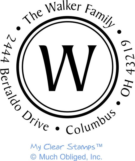 Custom Family Return Address Stamp with Single Initial in Center - 20296 - Mounted with Handle