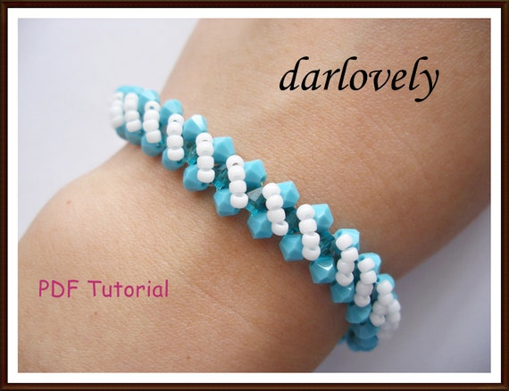 Swarovski Turquoise Diagonal Bracelet - PDF Tutorial (Buy 3 and get 1 Free)