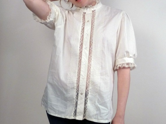 Vintage 70s White Blouse Lace Cutouts and Billowy Sleeves M