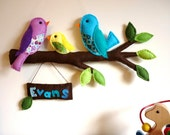 Rainbow Bird Family - Personalized Felt Wall Hanging / Baby Mobile
