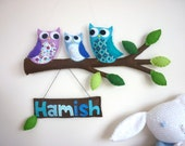 Personalized Wall or Door Name Plaque - Owl Family - Mom, Dad and Baby Boy