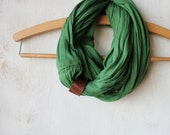 Hunter green infinity scarf with leather loop // Super soft jersey