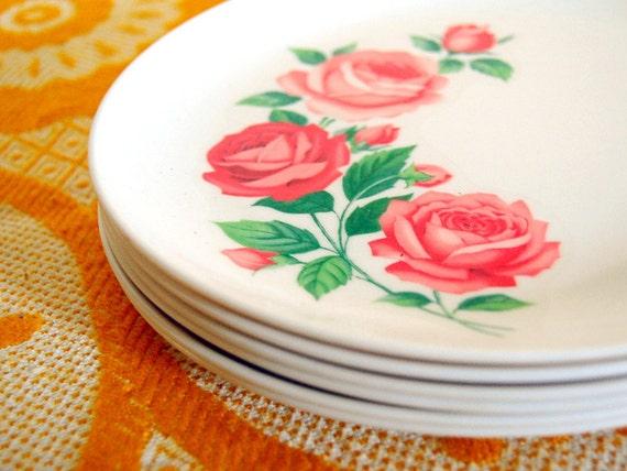 1950s Melamine Shabby Chic Pink Roses Set of 6 Plates