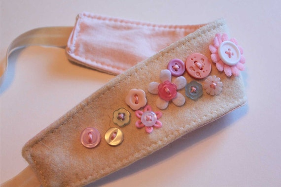 Buttons and Flower Organic Hairband Headband felt OOAK 12M - teen/adult ready to ship PINKS