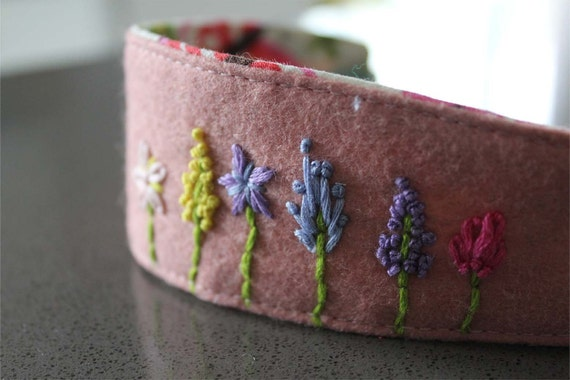 Garden 01 embroidered Organic Hairband Headband felt OOAK 12M - teen/adult ready to ship pink blue purple yellow white