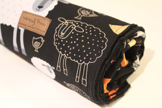 ExtraLarge Modern baby blanket black Farm animals LIMITED (only 2 left) black minkee minky swaddle blanket quilt