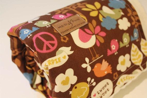 SALE xl Modern baby blanket in peace birds (last one) brown ivory minkee minky swaddle blanket quilt
