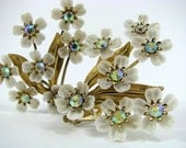 Vintage Coro Floral Earrings with Rhinestone Centers