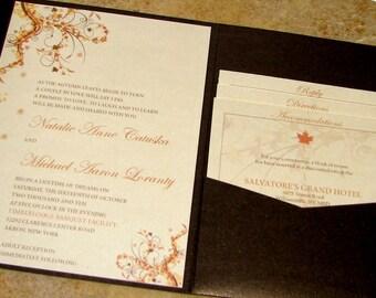 Chocolate Brown Fall Wedding Invitation