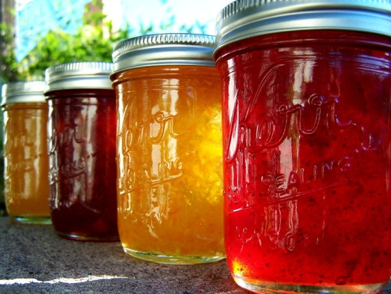 PICK ANY FOUR-Strawberry Jam Strawberry Lemon Marmalade Orange Marmalade or Peach Jam- 8 oz Jars FEATURED ON THE FRONT PAGE OF ETSY