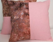 2 Decorative Cotton Throw Pillow Cover Shams Burgundy Pink Print 16 Inch SAC127