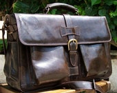 Leather briefcase shoulder bag  Ariel in dark brown, fits a 17 and 15 inches laptop SALE