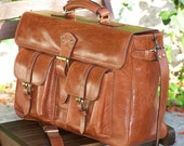 Handcrafted artisan genuine leather briefcase laptop bag  Aaron in tan Unisex