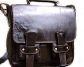 Handcrafted artisan genuine leather messenger bag Sion in dark brown UNISEX