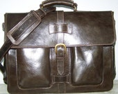 Leather Laptop Bag Briefcase Shoulder Cross body Bag Satchel Ariel in Dark Brown fits a 17 and 15 inches laptop