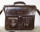 "Dark Brown Leather Messenger Bag Maor fits a 15"" and 13"" laptop"