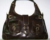 Dark Brown Leather Handbag Tote Shoulder Bag Amy