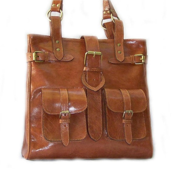 Handcrafted artisan genuine leather handbag  tote shoulder cross-body bag Orea in tan