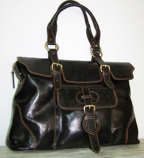 Dark brown leather handbag tote shoulder cross-body bag Johanna XL fits a 15 inches laptop