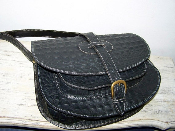 Leather messenger shoulder cross body bag Goldmann XL in black