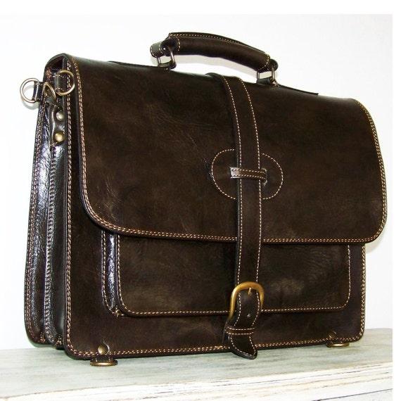 """Leather Backpack Messenger Bag Laptop Bag Briefcase Satchel fits a 17"""" & 18"""" laptop in Dark Brown SAMUEL XXL"""