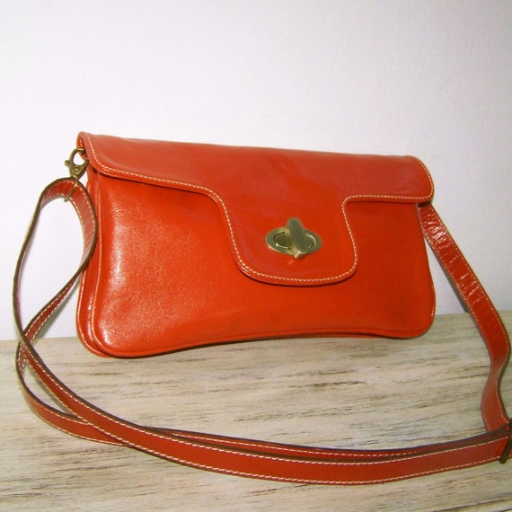 Orange brick purse clutch cross body bag Tal