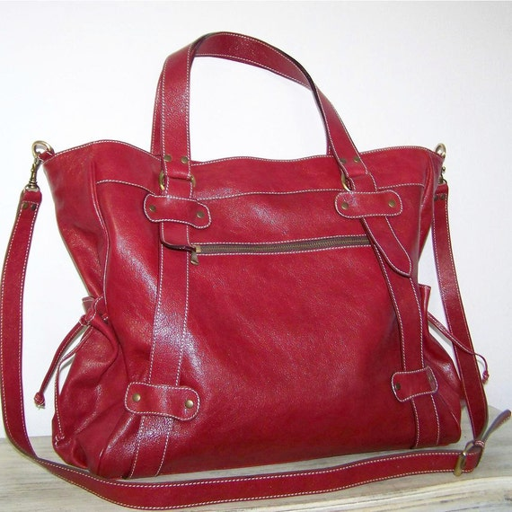 Leather Handbag Tote Purse Shoulder Cross Body Bag Judith in wine red fits a 17 inches laptop SALE